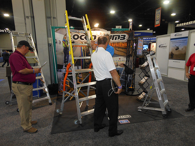 LockNClimb Founder and CEO Jeff Green at the LockNClimb booth at a recent trade show