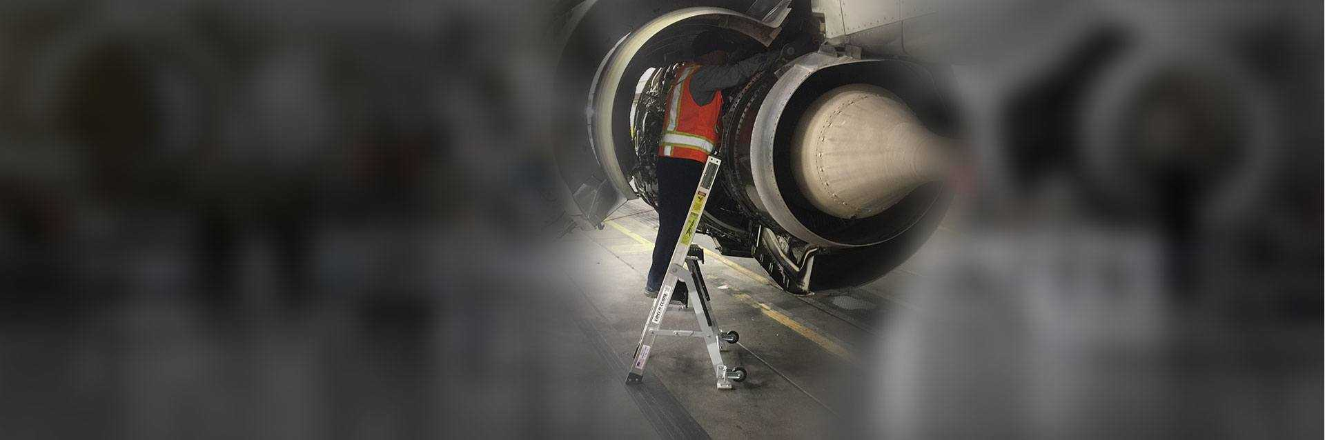 5 Foot Mini Pylon With Technician Working Inside Engine Of Boeing 737 Hero Shot